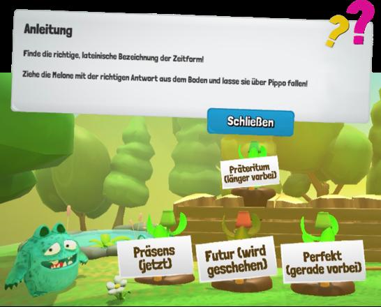 Screenshot vom Lernspiel bzw. Lern App | Pippo aus dem All | Die Deutsch Lern App für Kinder der 3. und 4. Klasse | Die Deutsch Lernapp für das Tablet